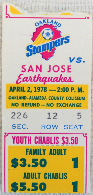 1978 NASL San Jose Earthquakes at Oakland Stompers Inaugural Game Ticket Stub 12.50
