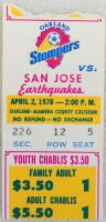 1978 NASL San Jose Earthquakes at Oakland Stompers Inaugural Game Ticket Stub