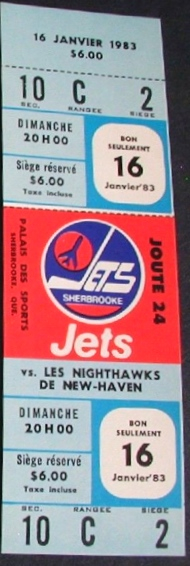 1983 AHL New Haven Nighthawks at Sherbrooke Jets ticket stub