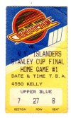 1982 Stanley Cup Final Gm 1 Islanders at Canucks ticket stub