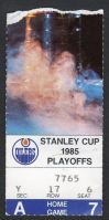 1985 Stanley Cup Playoffs Blackhawks at Oilers ticket stub