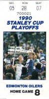 1990 Playoffs Blackhawks at Oilers ticket stub