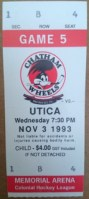 1993 Colonial League Chatham Wheels ticket stub vs Utica