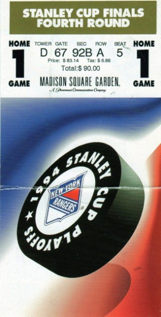 1994 Stanley Cup Final Canucks at Rangers ticket stub