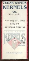 2002 Cedar Rapids Kernels ticket stub vs Wisconsin