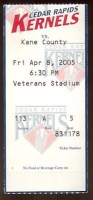 2005 Cedar Rapids Kernels ticket stub vs Kane County