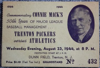 1944 Exhibition Trenton Packers ticket stub vs Philadelphia Athletics