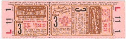 1944 World Series Game 3 Full Ticket Browns at Cardinals