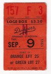 1965 Sandy Koufax Perfect Game ungraded ticket stub