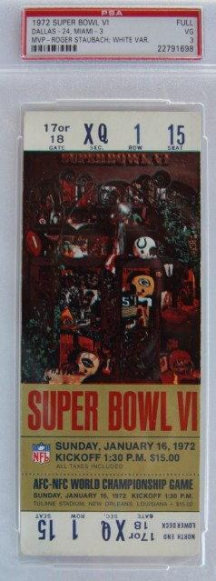 1972 Super Bowl Cowboys vs Dolphins ticket stub 2500