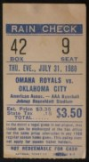 1980 Oklahoma 89ers at Omaha Royals ticket stub