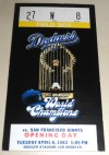 1982 Giants at Dodgers Opening Day ticket stub
