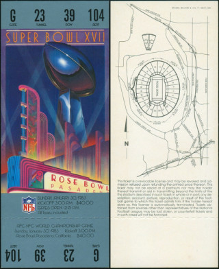 1983 Super Bowl Redskins vs Dolphins ticket stub