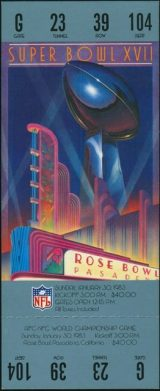 1983 Super Bowl Redskins vs Dolphins Rose Bowl 175 wwl