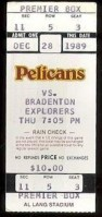 1989 Senior League St. Petersburg ticket stub vs Bradenton