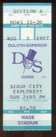 1997 American Association Sioux City Exporers at Duluth-Superior Dukes ticket stub