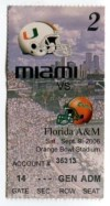 2006 NCAAF Florida A and M at Miami ticket stub