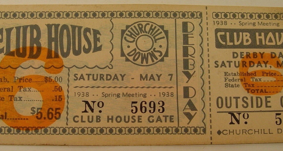 1938 Kentucky Derby Full Ticket