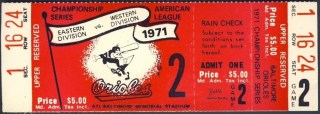 1971 ALCS Gm 2 A's at Orioles full ticket