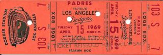 1969 Padres at Dodgers opening day ticket stub 51
