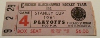 1961 Stanley Cup Gm 4 Red Wings at Blackhawks ticket stub