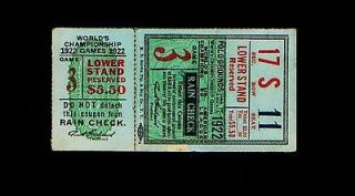 1922 World Series Game 3 Yankees at Giants ticket stub 476