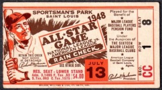 1948 MLB All Star Game St. Louis ticket stub 400