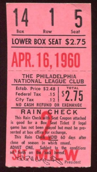 1960 MLB Braves at Phillies Hank Aaron HR ticket stub 54