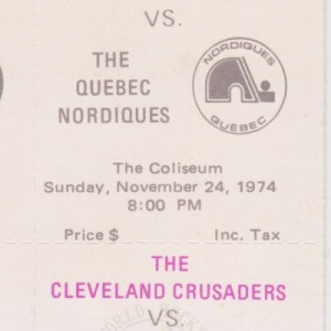 1974 WHA Cleveland Crusaders full ticket vs Quebec