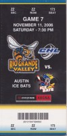 2006 CHL Rio Grande Valley Killer Bees ticket stub vs Austin