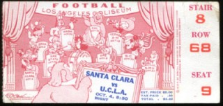 1940 NCAAF Santa Clara at UCLA ticket stub 64.99