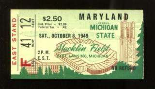 1949 NCAAF Mayland at Michigan State ticket stub 25
