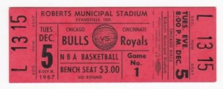 1967 NBA Bulls at Royals full ticket 12
