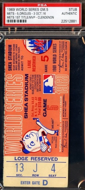 1969 World Series Game 5 ticket stub Orioles vs Mets