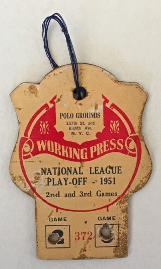 1951 NLCS Dodgers at Giants press pass 595