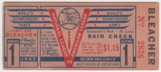 1942 World Series Game 1 Yankees at Cardinals ticket stub 200