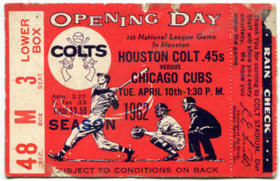 MLB Opening Day Ticket Stub Collection