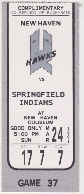 1991 AHL Springfield Indians at New Haven Nighthawks ticket stub