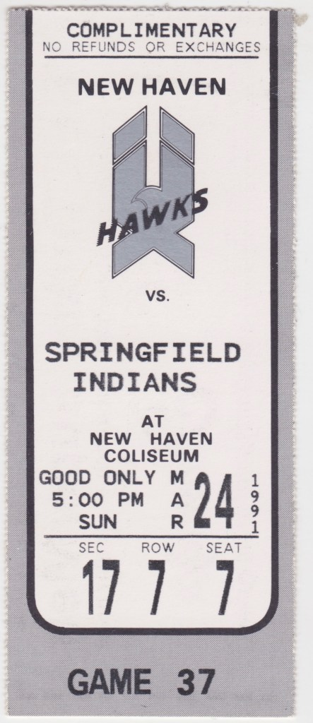 1991 AHL New Haven Nighthawks ticket stub vs Springfield