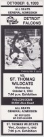 1993 Colonial League Detroit Falcons ticket stub vs St. Thomas