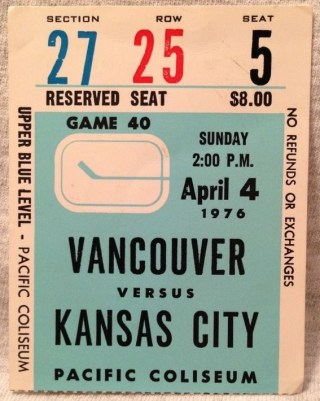 1976 NHL Kansas City Scouts at Vancouver Canucks ticket stub