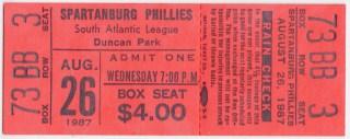 1987 MiLB South Atlantic League Spartanburg Phillies ticket stub