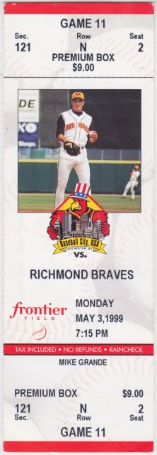 1999 MiLB International League Richmond Braves at Rochester Red Wings ticket stub