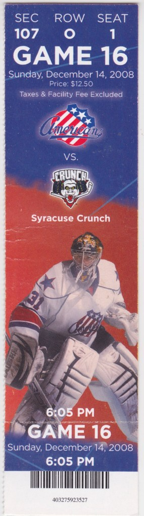 2008 Rochester Americans ticket stub vs Syracuse