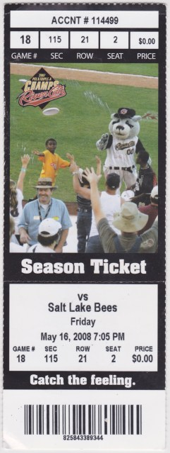 2008 MiLB PCL Salt Lake Bees at Sacramento River Cats ticket stub 1
