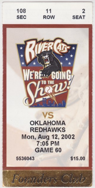 2002 Sacramento River Cats ticket stub vs Oklahoma City