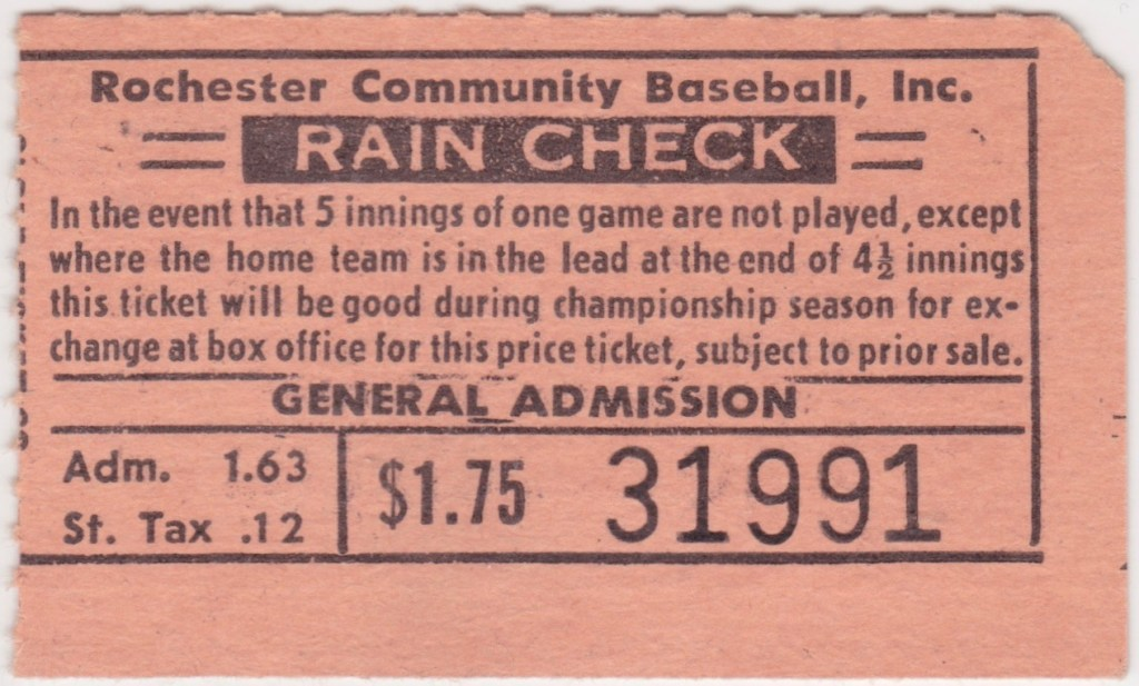 Vintage Rochester Red Wings ticket stubs