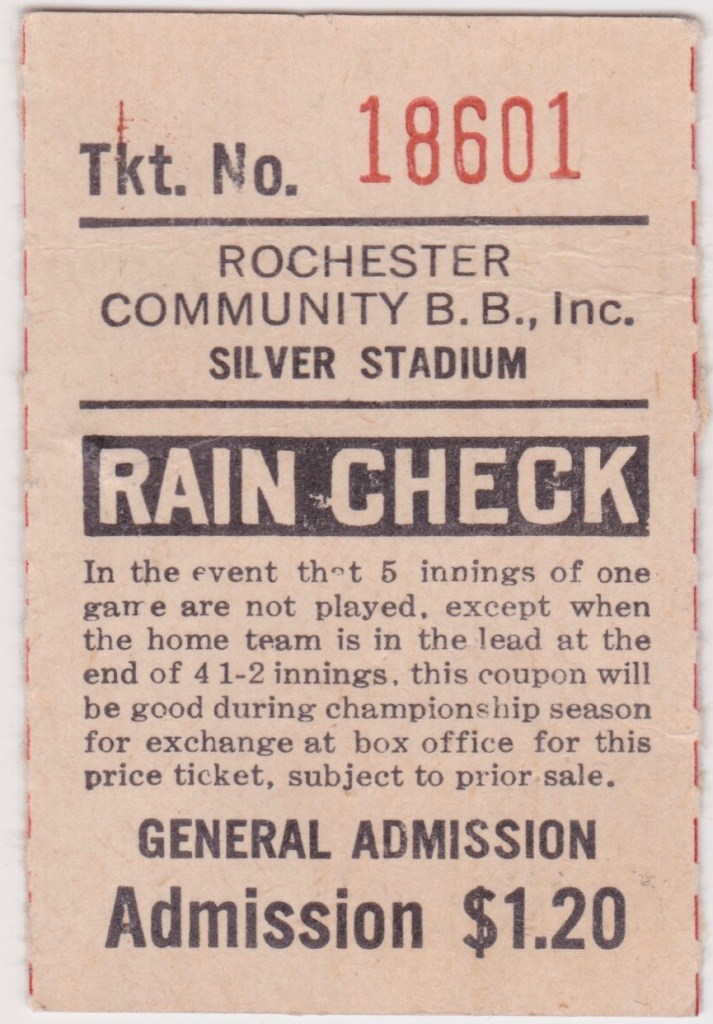 Vintage Rochester Red Wings ticket stub