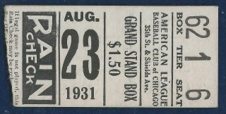 1931 Chicago White Sox vs New York Yankees Ticket Stub Babe Ruth HR 601