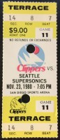 1980 NBA Supersonics at Clippers ticket stub